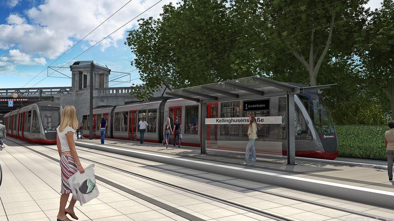Visualisierung: Eine moderne Stadtbahn der Hochbahn am U-Bahnhof Kellinghusenstraße in Hamburg