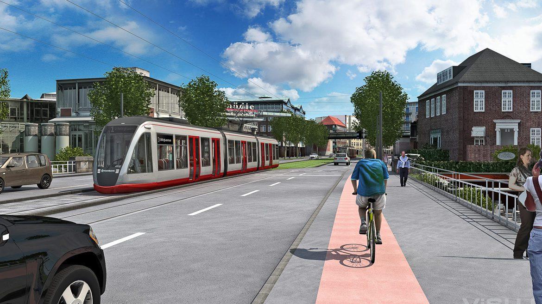 Visualisierung: Eine moderne Stadtbahn der Hochbahn am Winterhuder Fährhaus in Hamburg