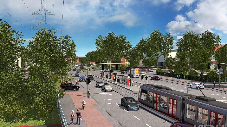 Visualisierung: Eine moderne Stadtbahn der Hochbahn am S-Bahnhof Rübenkamp in Hamburg