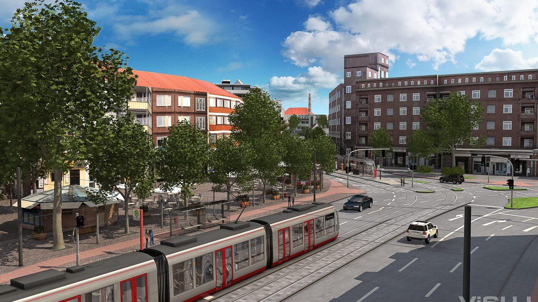 Visualisierung: Eine moderne Stadtbahn der Hochbahn am Winterhuder Markt in Hamburg