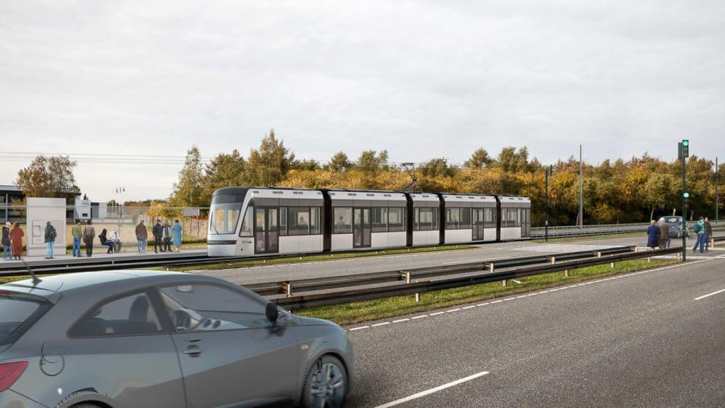 Visualisierung: Die geplante Stadtbahn von Kopenhagen im Vorort Glostrup