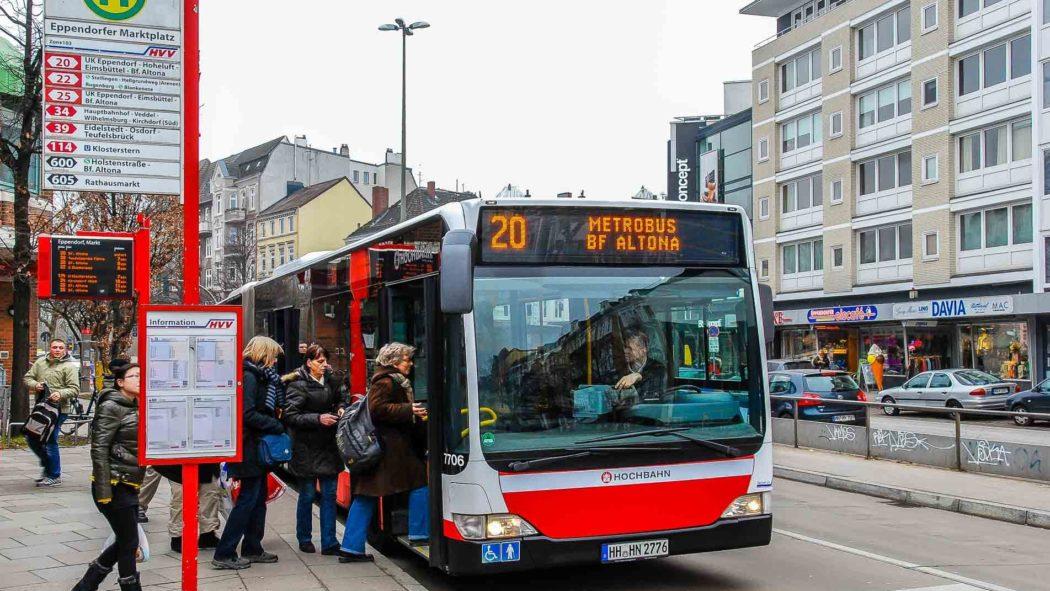 Einstieg vorn am Eppendorfer Markt in Hamburg