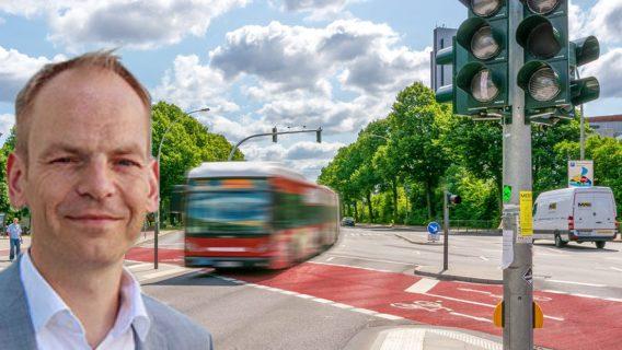 Fotomontage: mib-Gründer Torben Greve und eine Ampelvorrangschaltung für Busse in Hamburg.