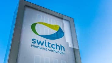 Das Logo an einer Switchh-Mobilitätsstation in Hamburg