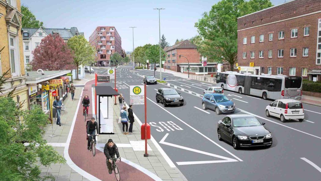 Visualisierung: Soll die Bushaltestelle Von-Sauer-Straße in Bahrenfeld künftig aussehen
