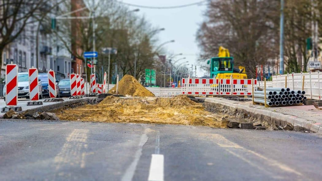 Straßenbauarbeiten in Hamburg-Altona