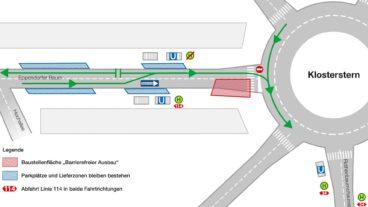 Karte: Straßensperrungen am Klosterstern