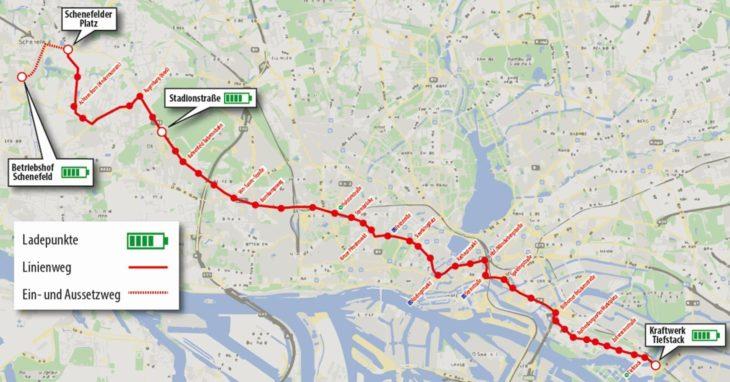Ladepunkte für E-Busse auf der Metrobuslinie 3