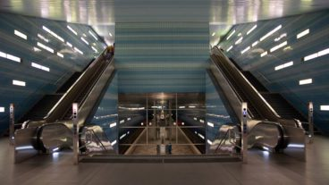Treppenanlagen am U-Bahnhof Überseequartier in Hamburg