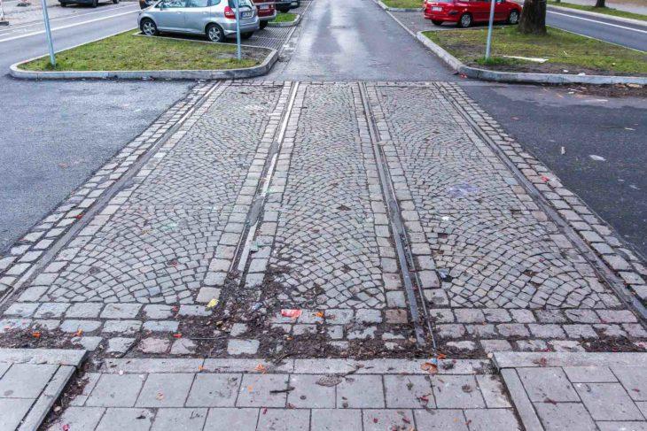 Gleisreste der alten Hamburger Straßenbahn an der Straßburger Straße in Dulsberg