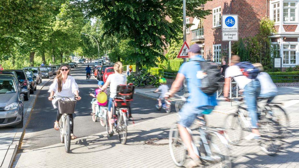Fahrradstraße Leinpfad in Hamburg