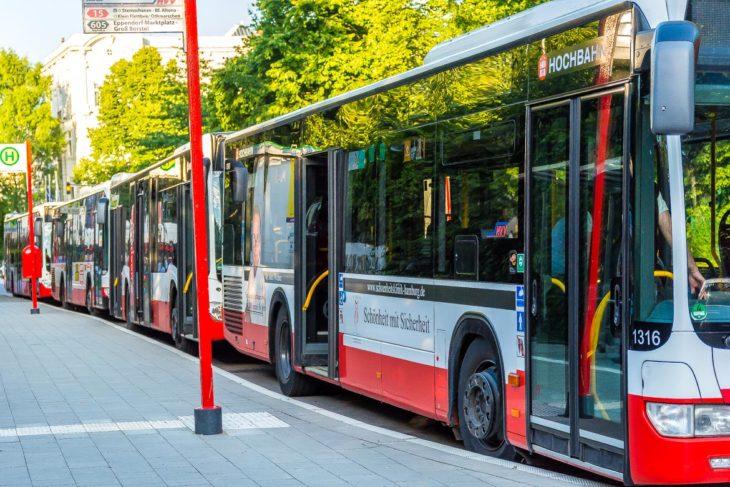 Mehrere abgestellte Busste stehen an der Alsterchaussee in Hamburg