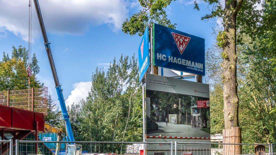 Bauarbeiten für den barrierefreien Ausbau der U-Bahn-Station Hagendeel