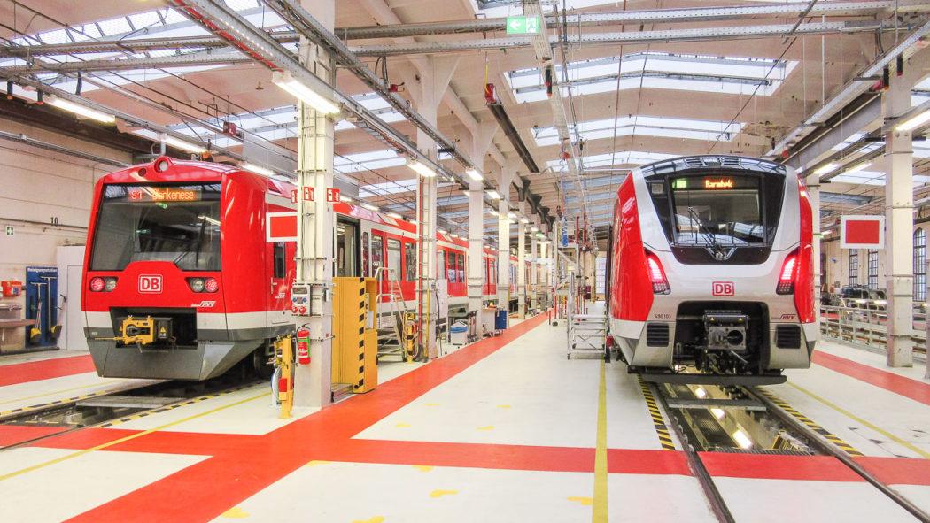 Die künftigen Gesichter der S-Bahn: links ein modernisier Zug der Baureihe 474, rechts ein Exemplar der neuen Baureihe 490.