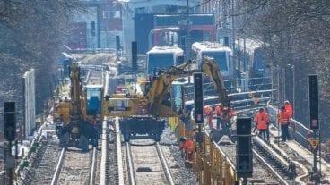 Bauarbeiten am neuen U-Bahnhof Oldenfelde an der U1 in Hamburg