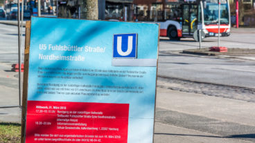 Hochbahn-Plakat zur geplanten U5-Haltestelle in Barmbek-Nord