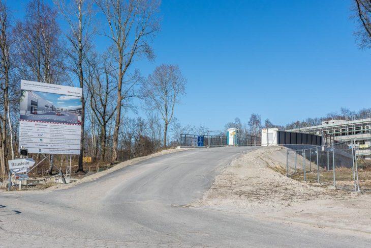 Zufahrtsbrücke zum neuen Elektrobus-Betriebshof der Hochbahn