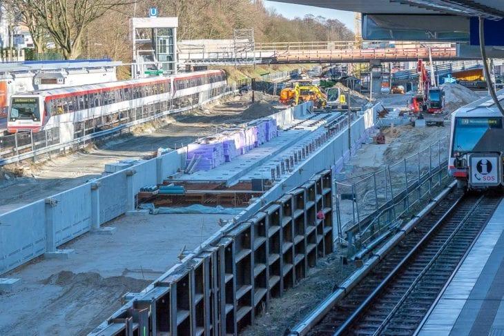 Fundament der geplanten U-Bahn-Waschhalle an der Legienstraße in Hamburg