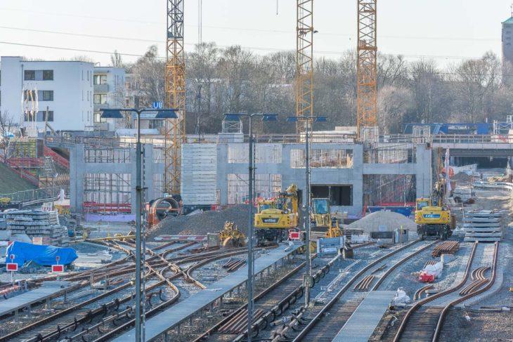 Der Rohbau des neuen U-Bahn-Betriebswerks zwischen den Haltestellen Billstedt und Legienstraße
