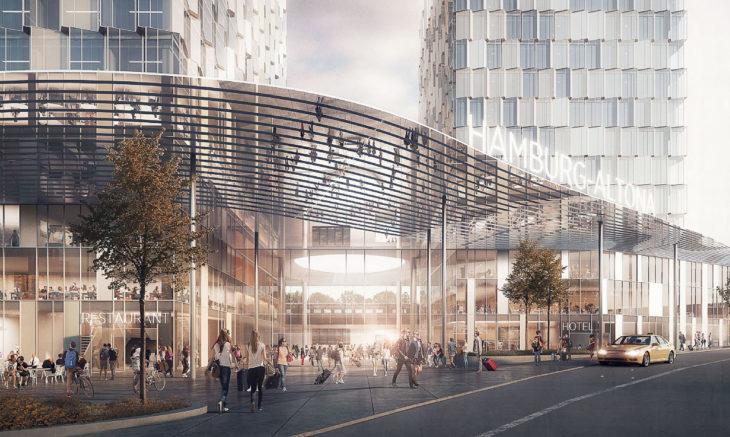 Der neue Fernbahnhof Hamburg-Altona soll einen luftigen offenen Eingangsbereich bekommen (Visualisierung: C.F. Möller)