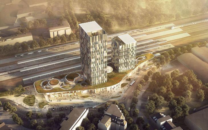 Siegerentwurf für den neuen Fernbahnhof Hamburg-Altona vom dänischen Architekturbüro C.F. Möller