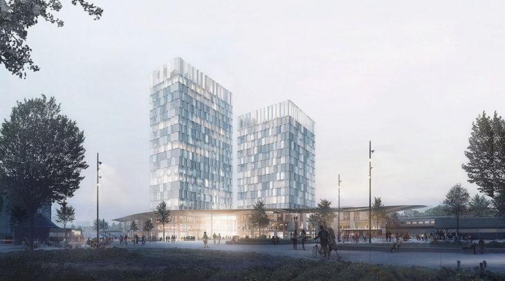 Zwei Hochhaustürme sollen am neuen Fernbahnhof Hamburg-Altona entstehen (Visualisierung: C.F. Möller)