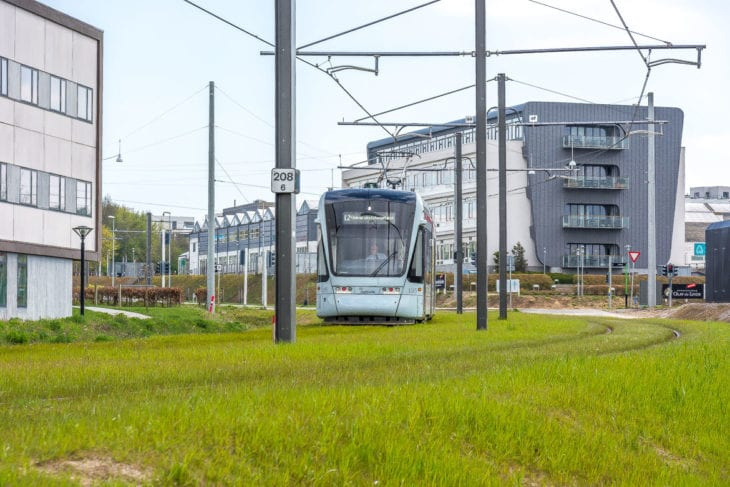 In Rasen gebettete Gleise sorgen für mehr Stadtgrün entlang der Straßenbahn von Aarhus