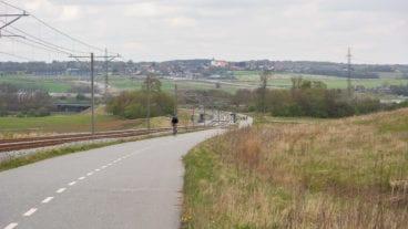 Ein Fahrradschnellweg in der dänischen Stadt Aarhus