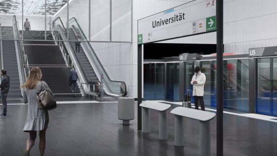 Visualisierung: Die künftige U-Bahn-Haltestelle der U5 an der Universität in Hamburg.