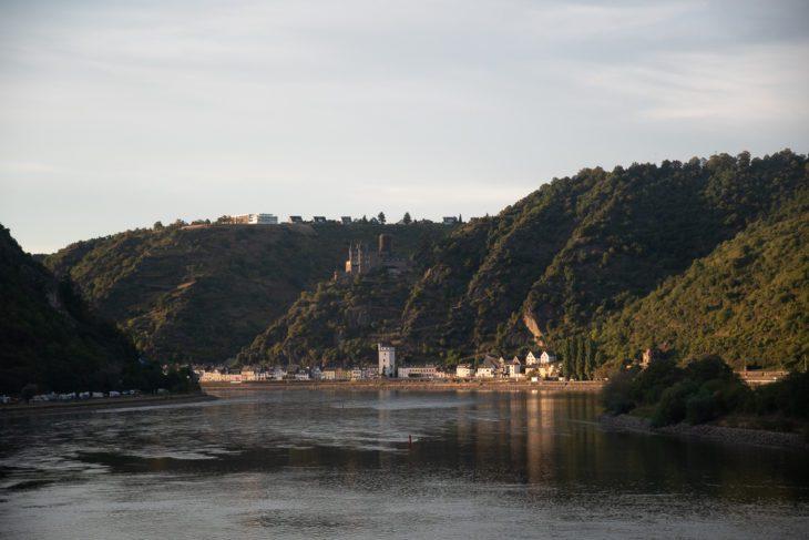 Berge, Burg, Rhein, Rheintal, Sonnenuntergang