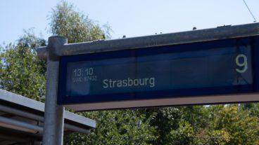 Anzeigetafel, Baden-Württemberg, DFI, Dynamische Fahrgastinformation, Frankreich, Sommer, Strasbourg, Straßburg