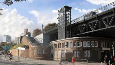 Visualisierung: So soll der U-Bahnhof Landungsbrücken aussehen, wenn er fertig ist. Auffällig sind die neuen gläsernen Aufzüge zu den Bahnsteigen