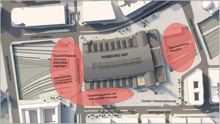 Grafik: So soll der Hauptbahnhof in Hamburg bis 2030 ausgebaut werden