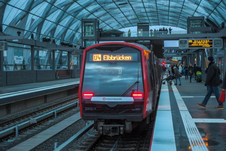 Baackenhafen, DT5, Elbbrücken, HVV, Hafencity, Hamburg, Hochbahn, U-Bahn, U4, Winter