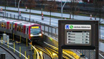 Baackenhafen, DFI, DT5, Dynamische Fahrgastinformation, Elbbrücken, Fahrgastinformation, HVV, Hafen, Hafencity, Hamburg, Hochbahn, U-Bahn, U4, Vogelperspektive, Winter