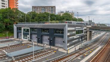 Das Werkstattgebäude im neuen U-Bahn-Betriebswerk der Hochbahn in Hamburg-Billstedt