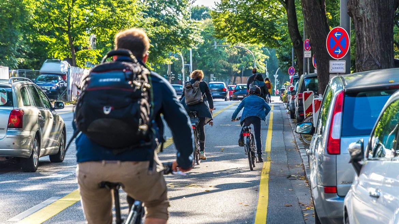 Die neue Popup-Bikelane wurde von den Radfahrenden am Montagnachmittag gut angenommen.