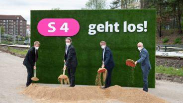 Erster Spatenstich für die S4 am 10. Mai 2021 mit Schleswig-Holsteins Ministerpräsident Daniel Günther, Bundesverkehrsminister Andreas Scheuer, Bahn-Infrastrukturvorstand Ronald Pofalla und Hamburgs Bürgermeister Peter Tschentscher (v.l.n.r.)