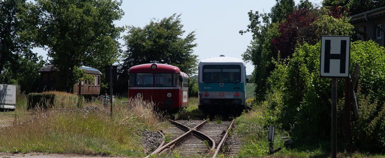 Aufgewacht aus dem Dornröschenschlaf: Seit dem vergangenen Wochenende findet auf der alten Museumsbahnstrecke nach Kappeln wieder ganz offizieller öffentlicher Nahverkehr statt - mit diesen beiden alten Fahrzeugen.
