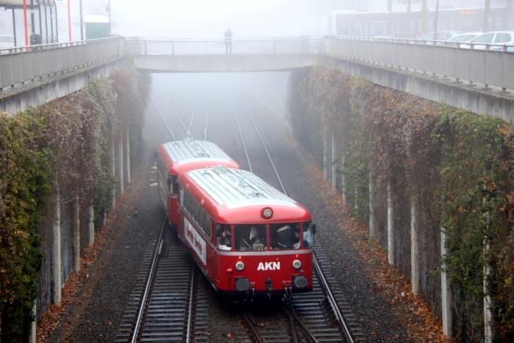 Abschiedsfahrten der Oldtimer-Schienenbusse bei der AKN am 1. Dezember 2029 in Henstedt-Ulzburg