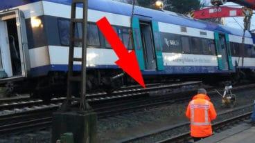 Angeblicher Fotobeweis: Unter dem verunglückten Zug fehlt ein Stück Schiene