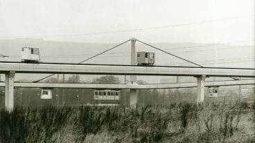 Eine Cabinentaxi-Versuchsanlage in den 1970er Jahren in Hagen.