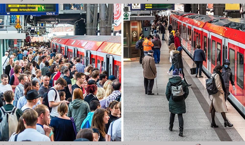 Vergleich: S-Bahnsteig im Hamburger Hauptbahnhof vor Corona (li.) und in der Corona-Krise (re.)
