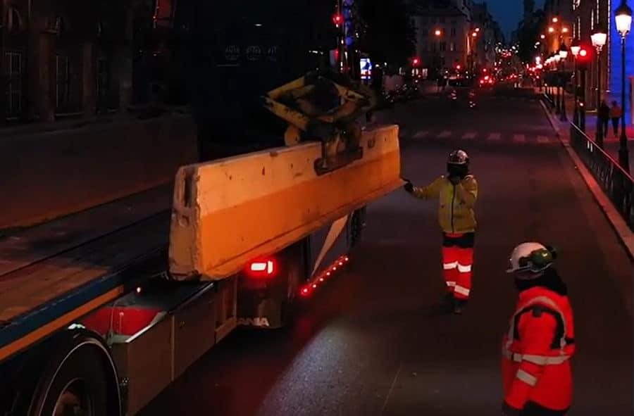 Bauarbeiten für temporäre Radwege in Paris