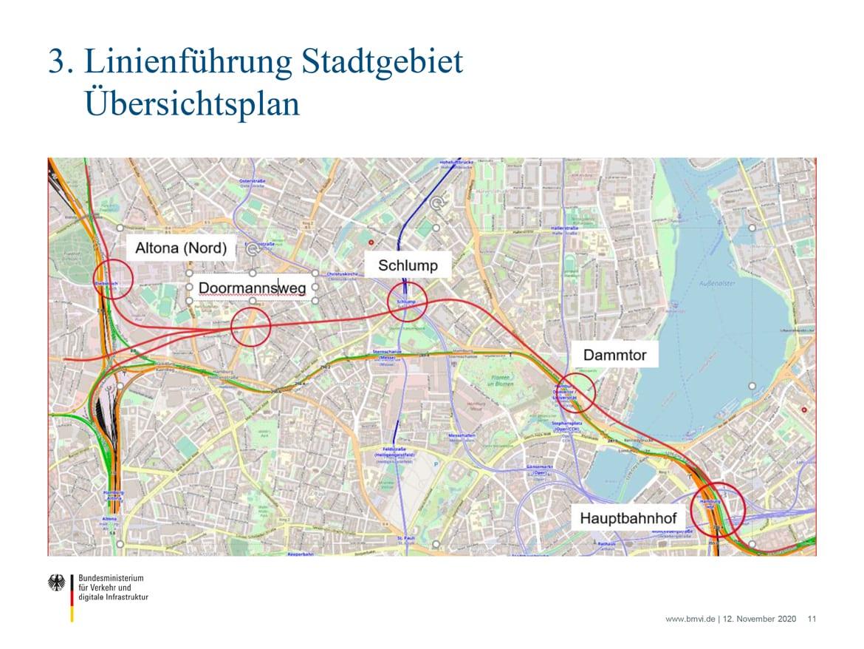 Der untersuchte Streckenverlauf des neuen S-Bahn-Tunnels zwischen Altona und Hauptbahnhof.