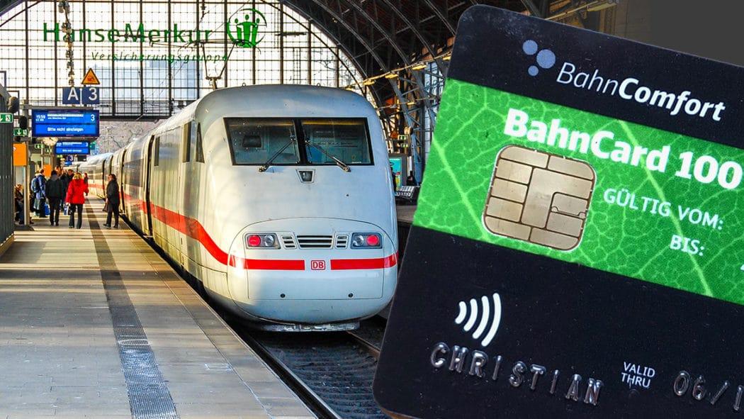 Eine BahnCard 100 und ein ICE im Bahnhof Hamburg-Dammtor