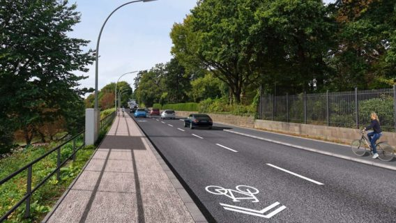 """Mischverkehr mit Fahrradsymbolen und ein """"Kopenhagener Radweg"""" auf der anderen Straßenseite: So soll die Elbchaussee künftig aussehen."""