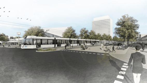 Fotomontage: Eine Straßenbahn vor der Christian-Albrechts-Universität in Kiel.