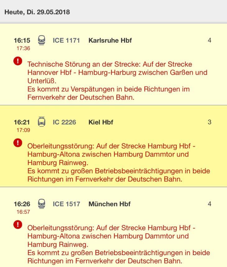 Die Online-Auskunft der Deutschen Bahn zeigt die massiven Verspätungen im Fernverkehr