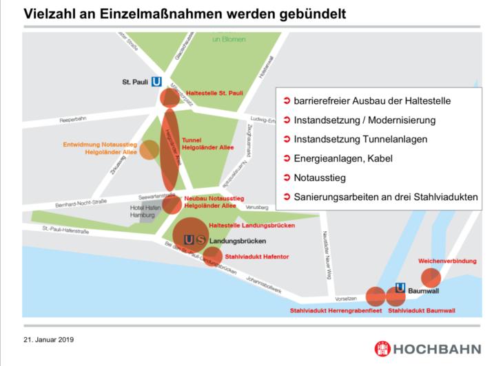 Diese Einzelmaßnahmen will die Hochbahn in diesem Jahr an den Landungsbrücken durchführen